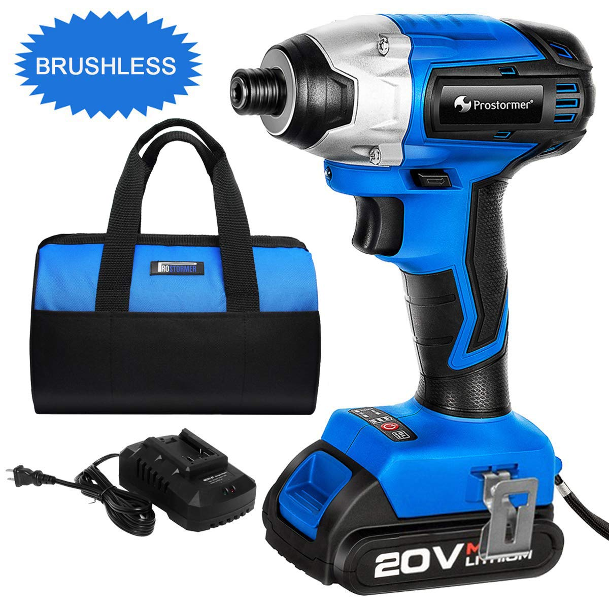 20V Max Lithium Brushless Imapct Driver, PROSTORMER 1/4-Inch Hex Cordless Impact Driver with Battery and Charger, Variable Speed, Max Torque 1327In-lbs, Tool Bag Included