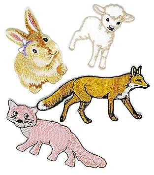 Juego de 4 parches bordados para coser o planchar con dibujos de ovejas de conejo de