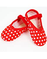 BALLET SHOES RED POLKA DOT SPOTTY SATIN CHILD SIZE 8 FULL SOLE