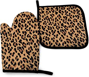 MSGUIDE Leopard Paw Print Oven Mitts Pot Holders Set, Heat Resistant Kitchen Waterproof with Inner Cotton Layer for Cooking BBQ Baking