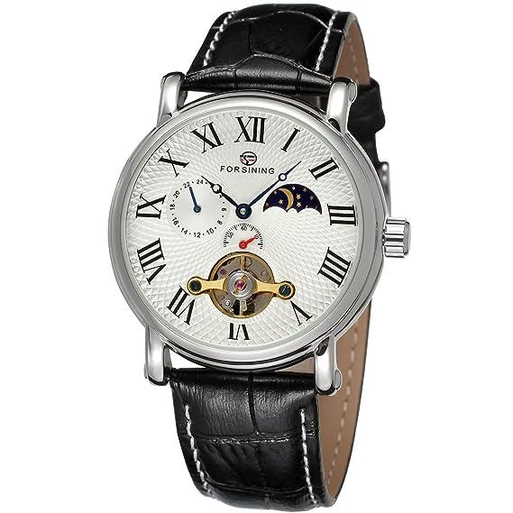 Colección de la marca Forsining Hombres pantalla correa de piel Real de la fase de la luna automático reloj de pulsera FSG800 M3S5: Amazon.es: Relojes