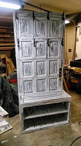 Superb Repurposed Wooden Door Hall Tree   Entryway Or Mud Room Bench   Entryway  Storage Bench  . Previous Page
