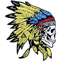 ZEGINs Native American Skull Headdress Patch Embroidered Applique Iron On Sew On Emblem