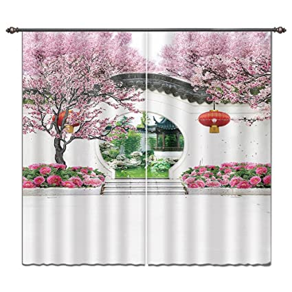 LB Plum Peony Flower Blossom And Chinese Garden House Decor Window Curtain,  Oriental Asian Culture