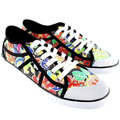 3299b679568e0d Rocket Dog Womens Jazzin Amaya Sugar Flower Laces Black Plimsoll Trainers  UK 3-8
