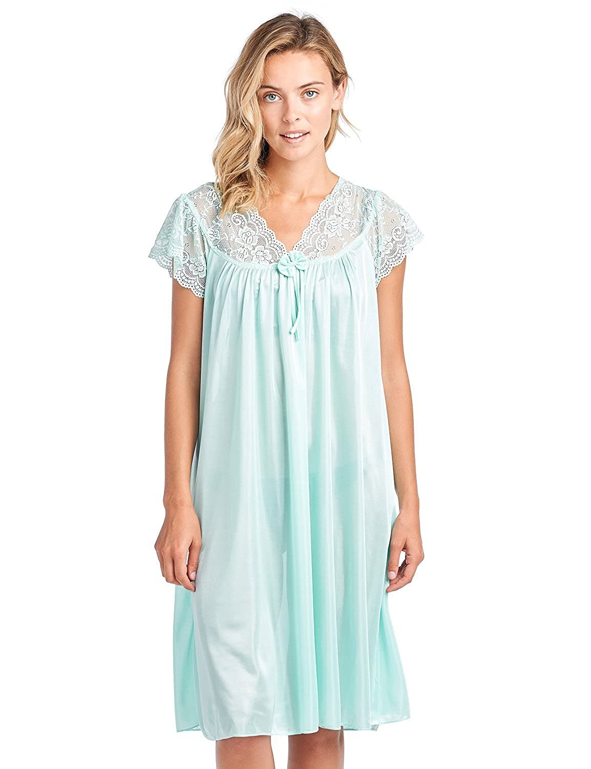 Casual Nights Women's Satin Scalloped Neck Short Sleeve Nightgown Short Sleeve Satin Nightshirt