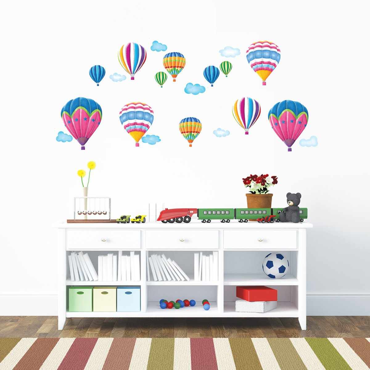 Decowall DA-1711 Colourful Hot Air Balloons Kids Wall Stickers Wall Decals Peel and Stick Removable Wall Stickers for Kids Nursery Bedroom Living Room