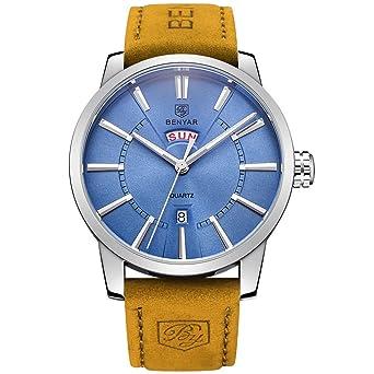 benyar Hombres de cuarzo impermeable Relojes negocio Caballero Marrón Correa De Cuero Banda Reloj de pulsera
