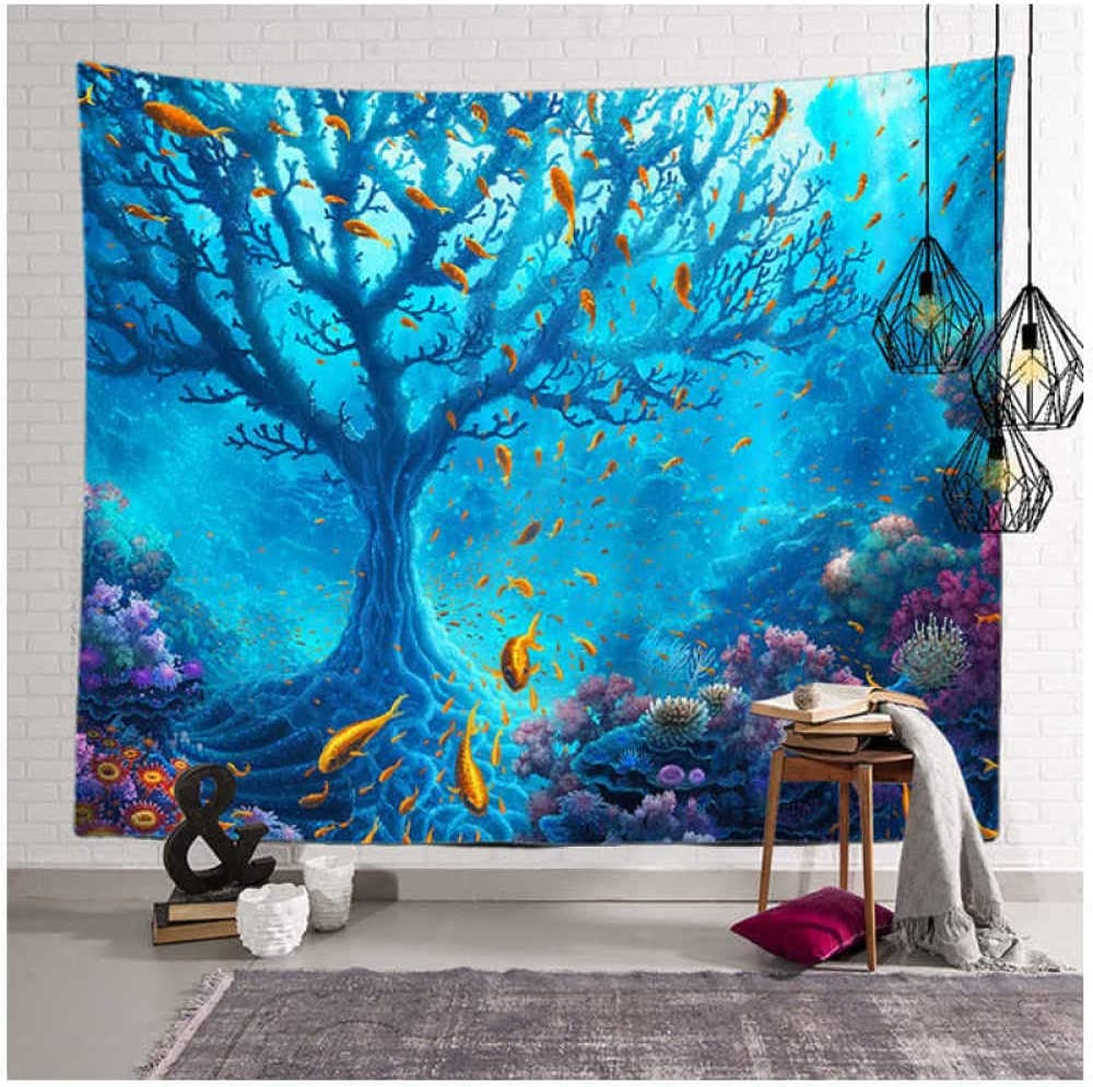 Tapestry by Zzdhewyz Ocean Beach Colorful Glowing Mushroom Blanket For Home Decor Background Cloth Suitable For Bedroom 70.86
