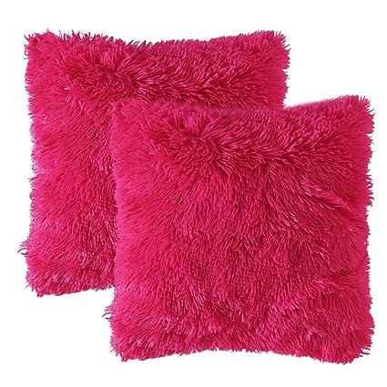 MIULEE Juego de 2 Faux Fur Throw Funda de cojín Deluxe Home Decorativo Cuadrados y Suaves Cojines PeloPara la Hogar Sofá Cama del Coche 18