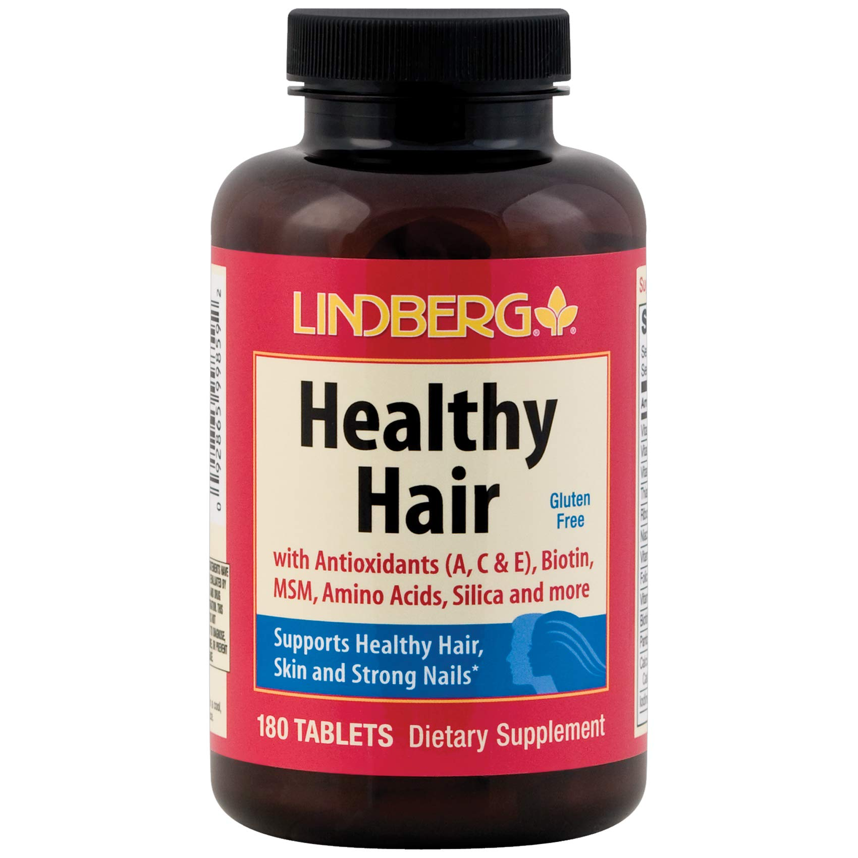 Lindberg Healthy Hair - with Antioxidants, Biotin, MSM, Amino Acids, Silica and More (180 Tablets)