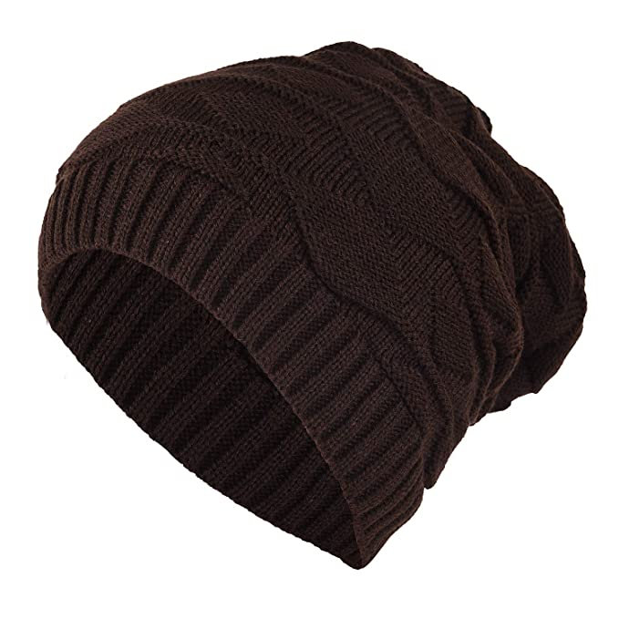 4927b5ee2c5 DRUNKEN Unisex Warm Winter Slouchy Soft Stretch Cable Knitted Beanie Caps  Skully Hat (Brown