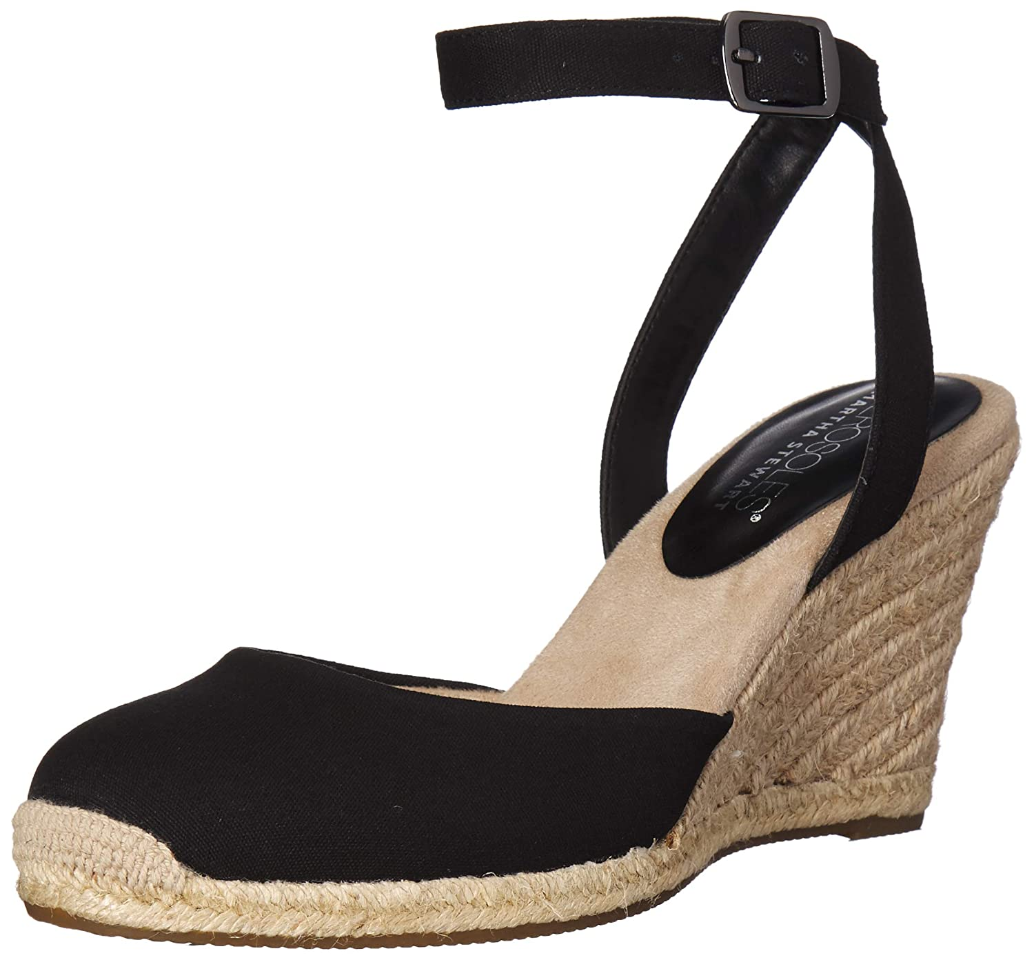 Black Fabric Aerosoles Womens Martha Stewart Meadow Wedge Sandal