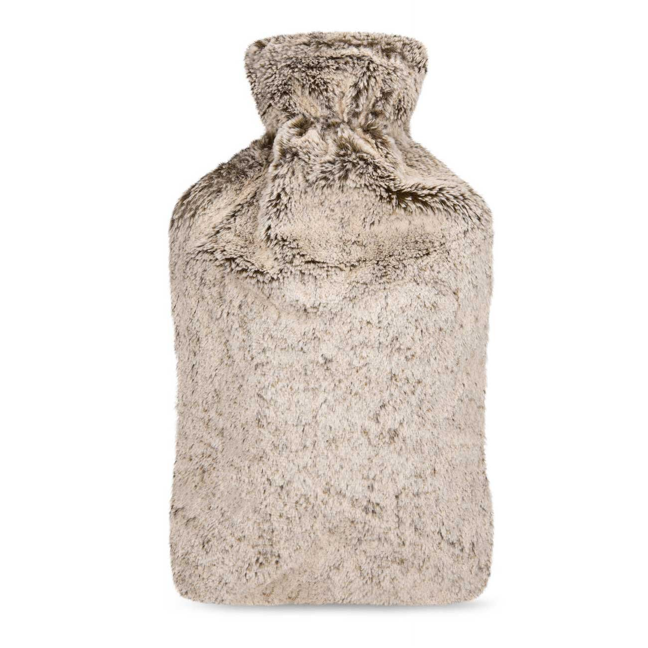 UMOI Eco Hot Water Bottle 2 Litre with High Quality Mink Fleece Cover I 35 x 21 x 4, 5 cm I 2l capacity I by UMOI (Ice-Brown)
