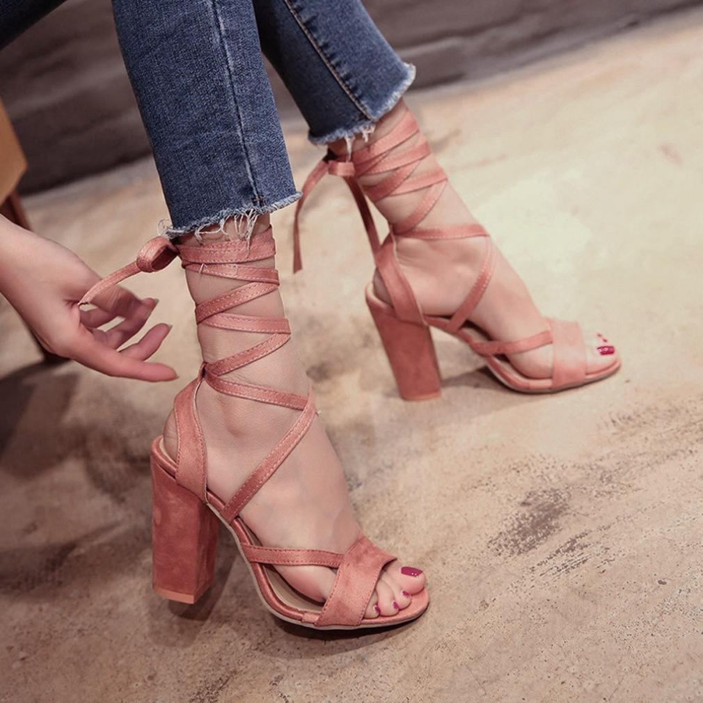 Liquidación Sandalias para mujer Covermason Sandalias para mujer de moda Tobillo Tacones altos Fiesta de bloque Zapatos de punta abierta(38 EU, ...