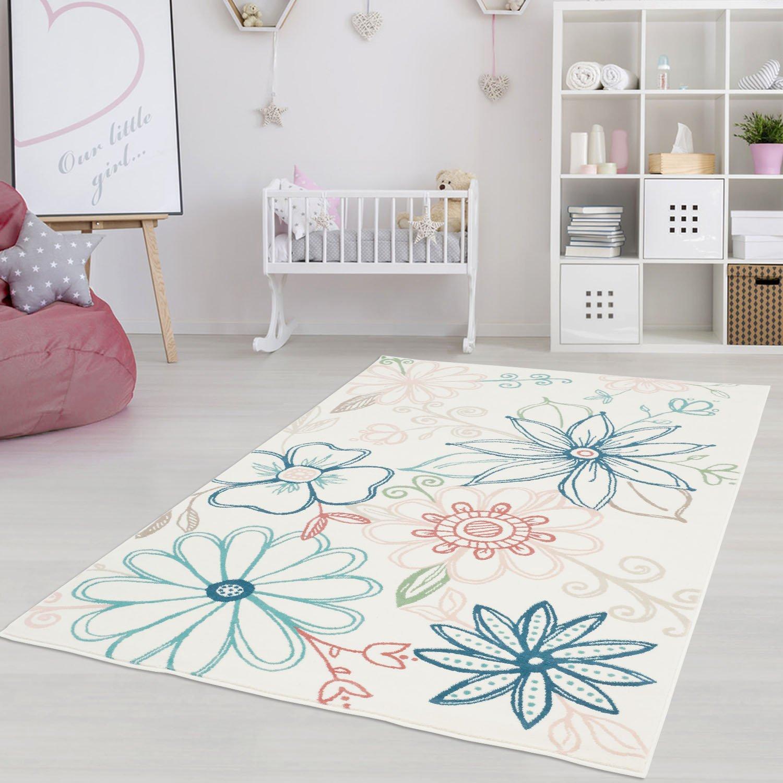 Moderner Kinderzimmer Teppich für das Kinderzimmer Pastel Öko Tex 100 zertifiziert INP-5790-creme Blumen 200x290 cm