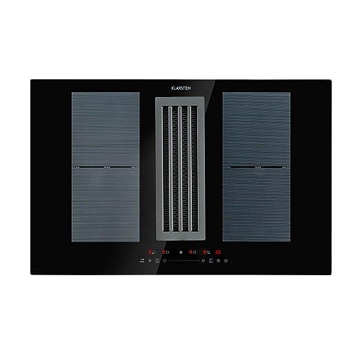 Klarstein Full House DownAir placas de inducción - Extractor de humos, Extractor de mesa, Montaje, Autárquico, 77 cm, 4 zonas, Tecnología Flexzone, ...