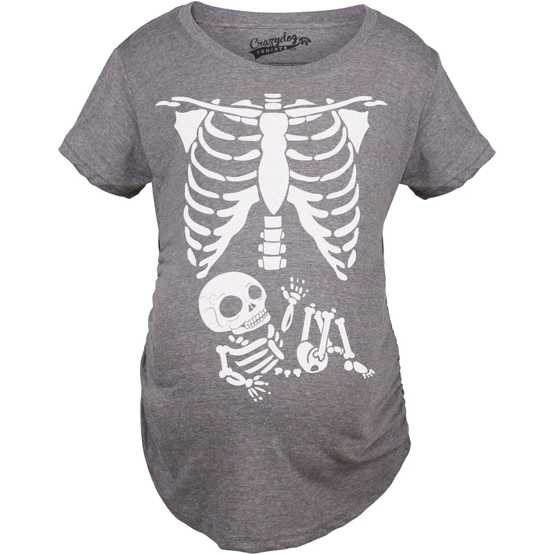 Crazy Dog Tshirts Maternity Skeleton Baby T Shirt Halloween Costume Funny Pregnancy Tee for Mothers - Damen - 015RibCageMAT