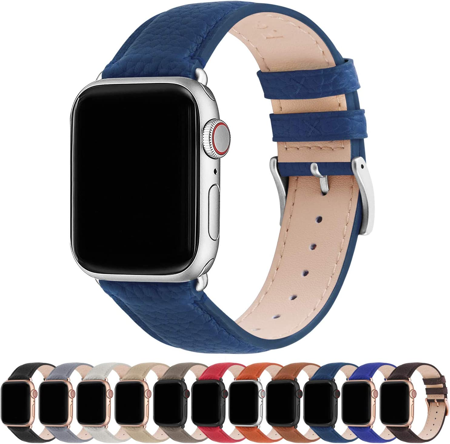 Fullmosa Compatible Apple Watch Band 44mm 42mm 40mm 38mm Leather Compatible iWatch Band/Strap Compatible Apple Watch SE & Series 6 5 4 3 2 1, 38mm 40mm, Dark Blue + Silver Buckle