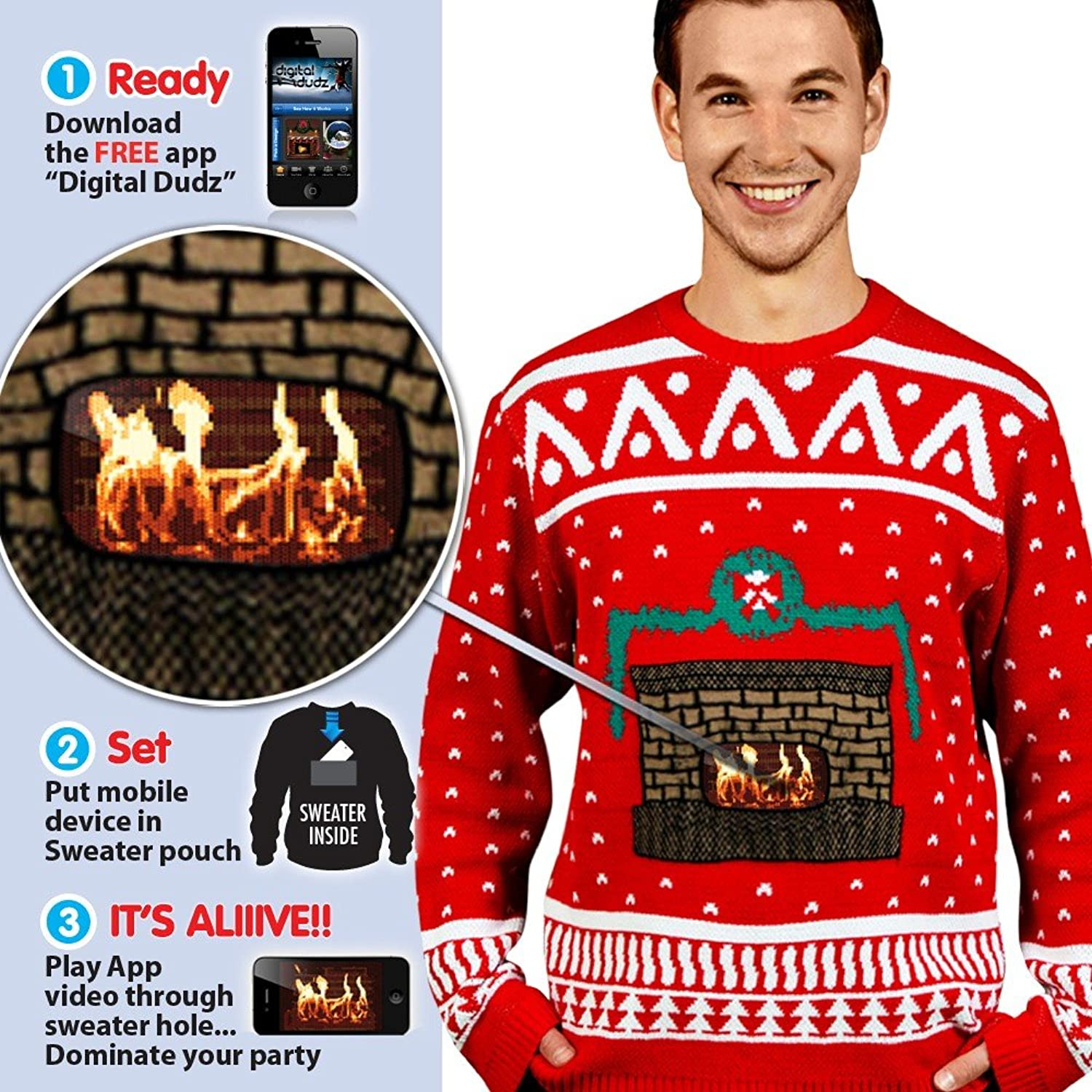 Digital Dudz Crackling Fireplace Digital Christmas Sweater at ...