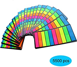 Creatiburg Sticky Flags Assorted Color Combo Pack, 5500 Flags Total, Colored Page Makers Sticky Index Tads, Individually Wrapped 22 Sets 5 Colors, Office and School Supplies Holiday Gift Set
