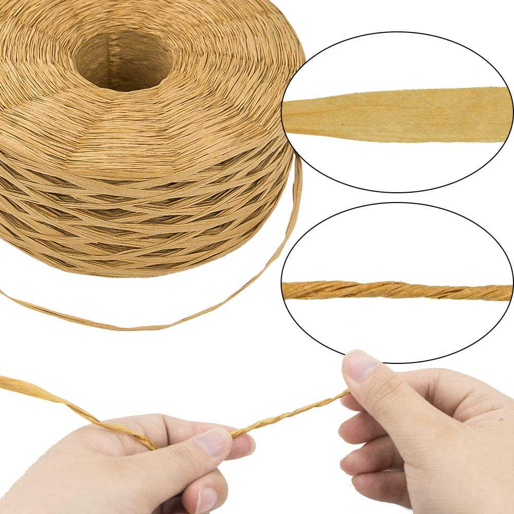 Supvox Raffia Grass for DIY Crafts Gift Packaging 2 Rolls