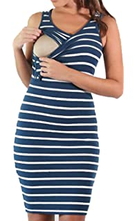 f214b460ccb LUKYCILD Women s Summer Sleeveless Striped Breastfeeding and Nursing Tank  Dress