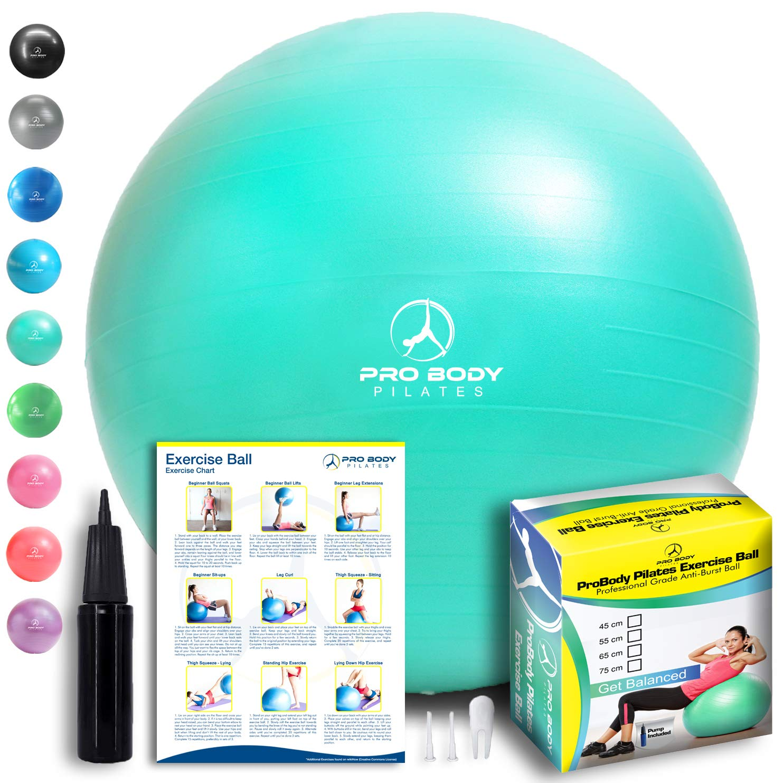 ProBody Pilates Anti-Burst Exercise Ball (Multiple Colors and Sizes) for Fitness, Balance, Yoga, Birthing, Stability…