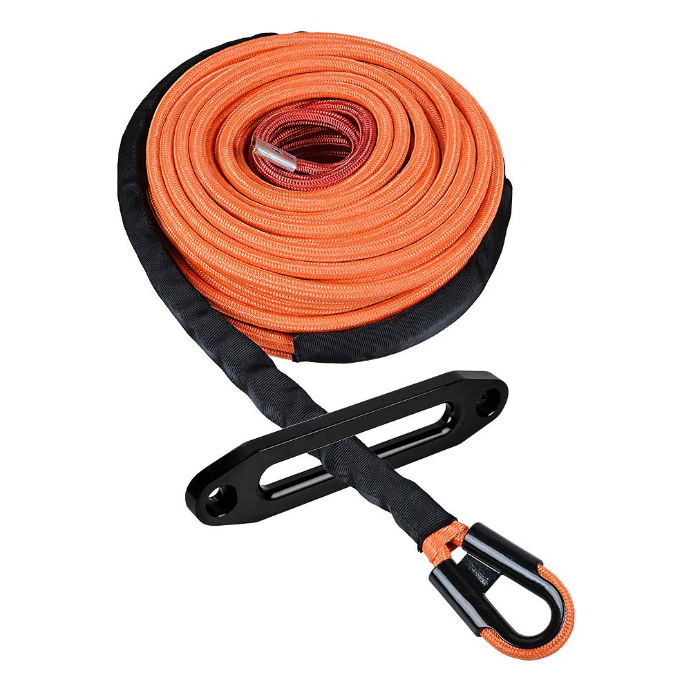 Astra Depot 95ft x 3/8 inch Synthetic Winch Line Cable Rope 22000LBs w/Heat and Rock Guard + Anodized Black 10'' CNC Aluminum Hawse Fairlead for ATV UTV Truck KFI (Orange, Hook Width: 6.6cm) by Astra Depot