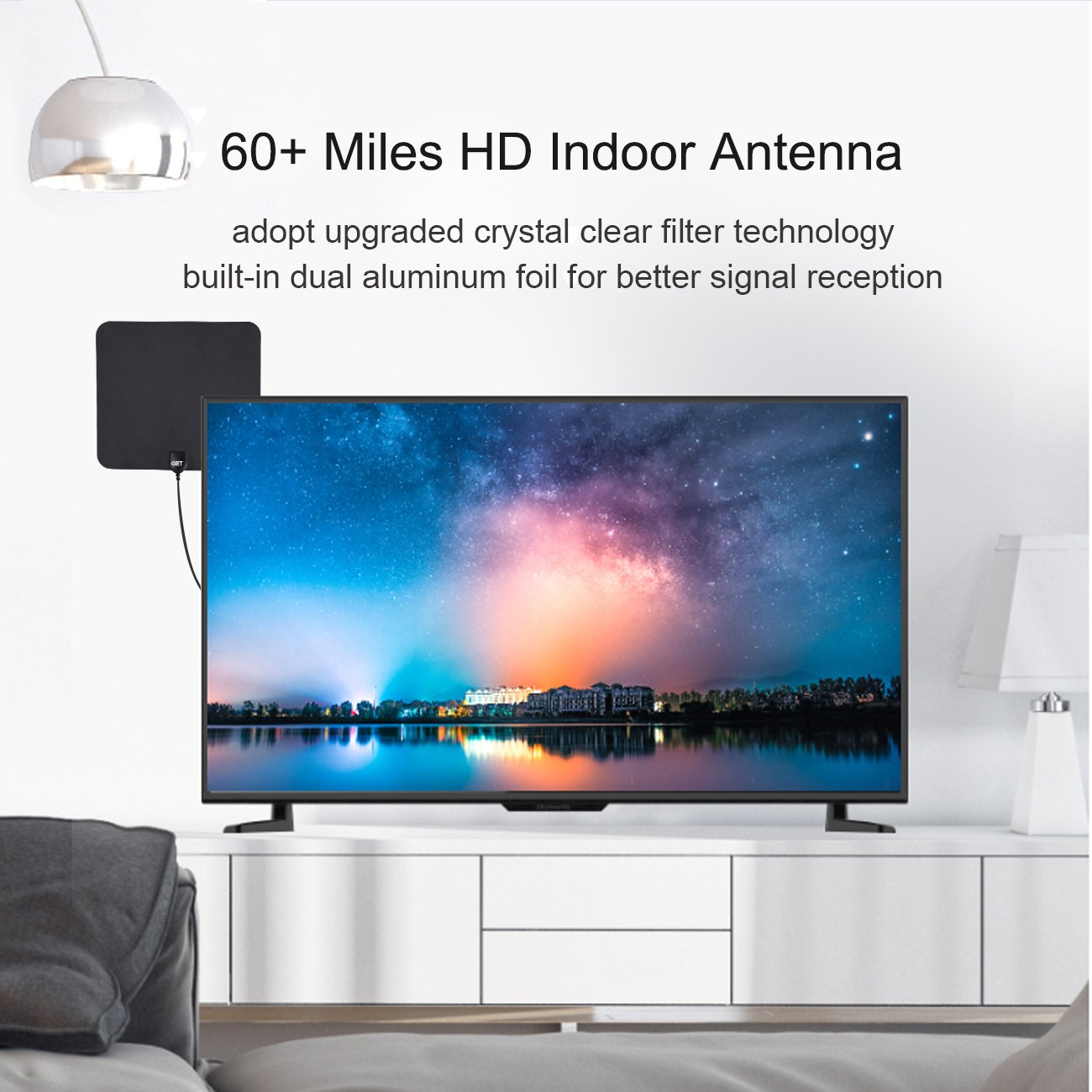 TV Antenna -Amplified Digital HDTV Antenna 50~75 Mile Long Reception Range with 13.2ft High Reception Coax Cable(2018 Upgraded Version)