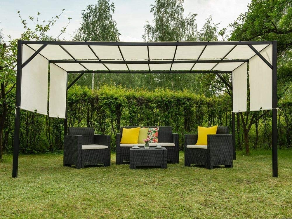 Garden Point Pérgola de Terraza Santorini | 300 x 400 cm jardín para Cubrir Muebles de jardín y Jacuzzi | Montaje fácil | Crema