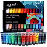 Mont Marte Acrylic Paint Set 24 Colours 36ml, Perfect for Canvas, Wood, Fabric, Leather, Cardboard, Paper, MDF and…
