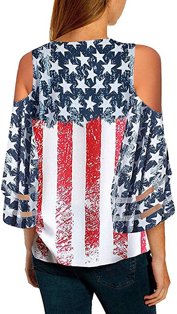 EDTO Womens Blouses Sleeveless Women America Fourth of July Memorial Day Ladies T Shirt