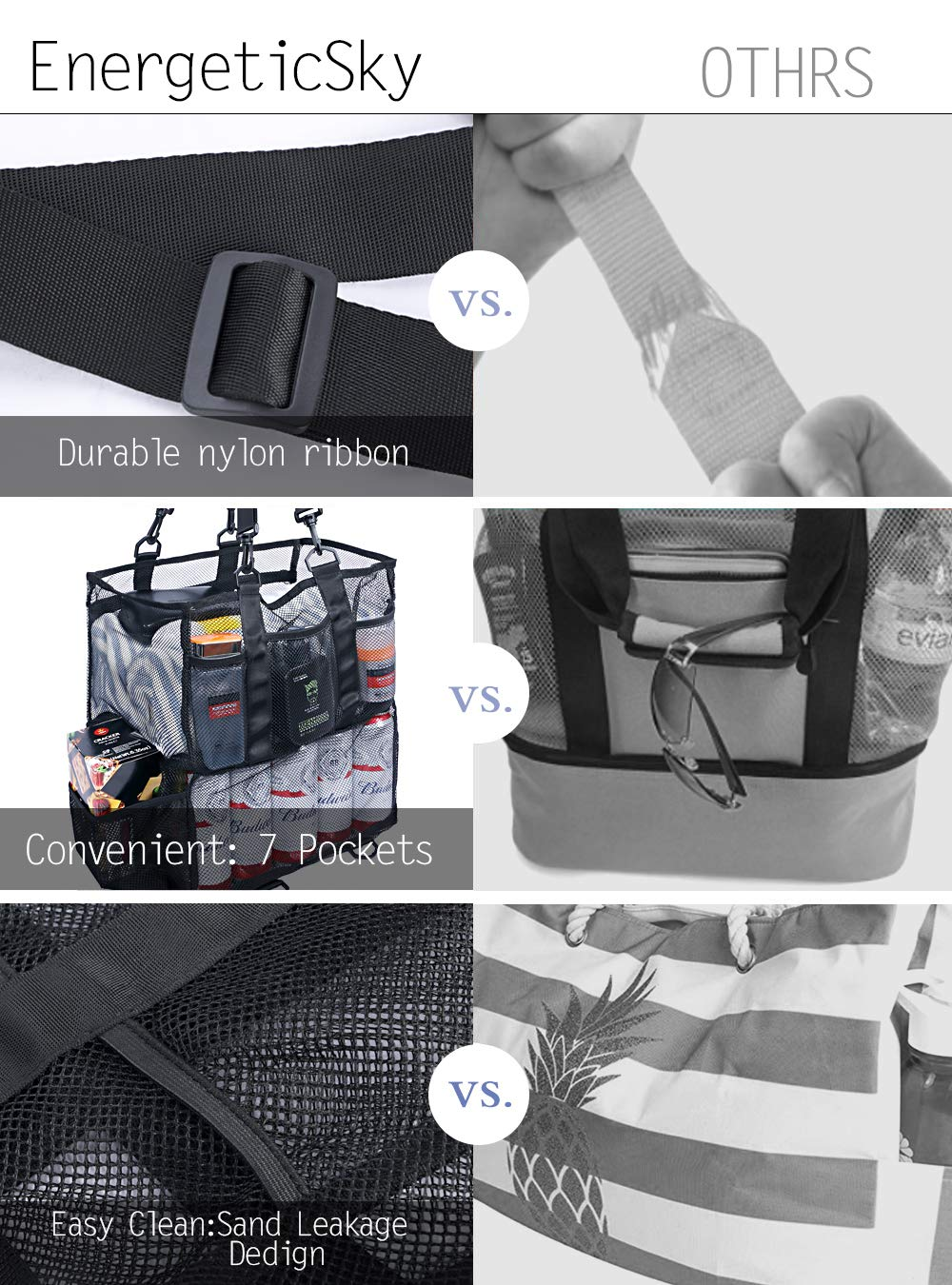 Large//Small Mesh Beach Bag,Large Beach Tote Bag,Pool Bag with 7 Large Pockets and Middle Compartment Innovation Design-Grocery /& Picnic Tote Travel Bags for Family.