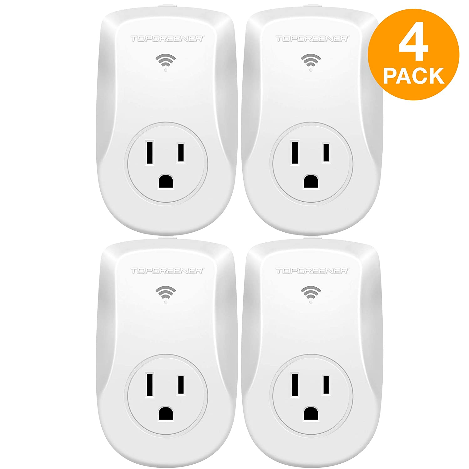 TOPGREENER Smart Wi-Fi Powerful Plug with Energy Monitoring, Smart Outlet, 15A, 1800W, No Hub Required, Works with Alexa and Google Assistant, 4 Pack