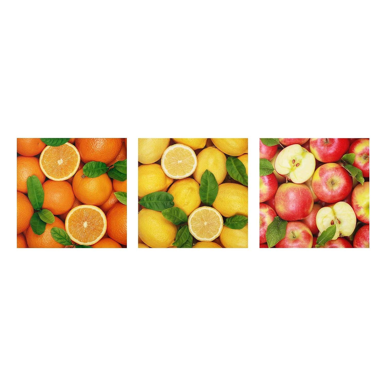 Bilderwelten Glasbild mehrteilig - Früchte Trio 3-teilig - Glasbild, Größe HxB  3X 50x50cm