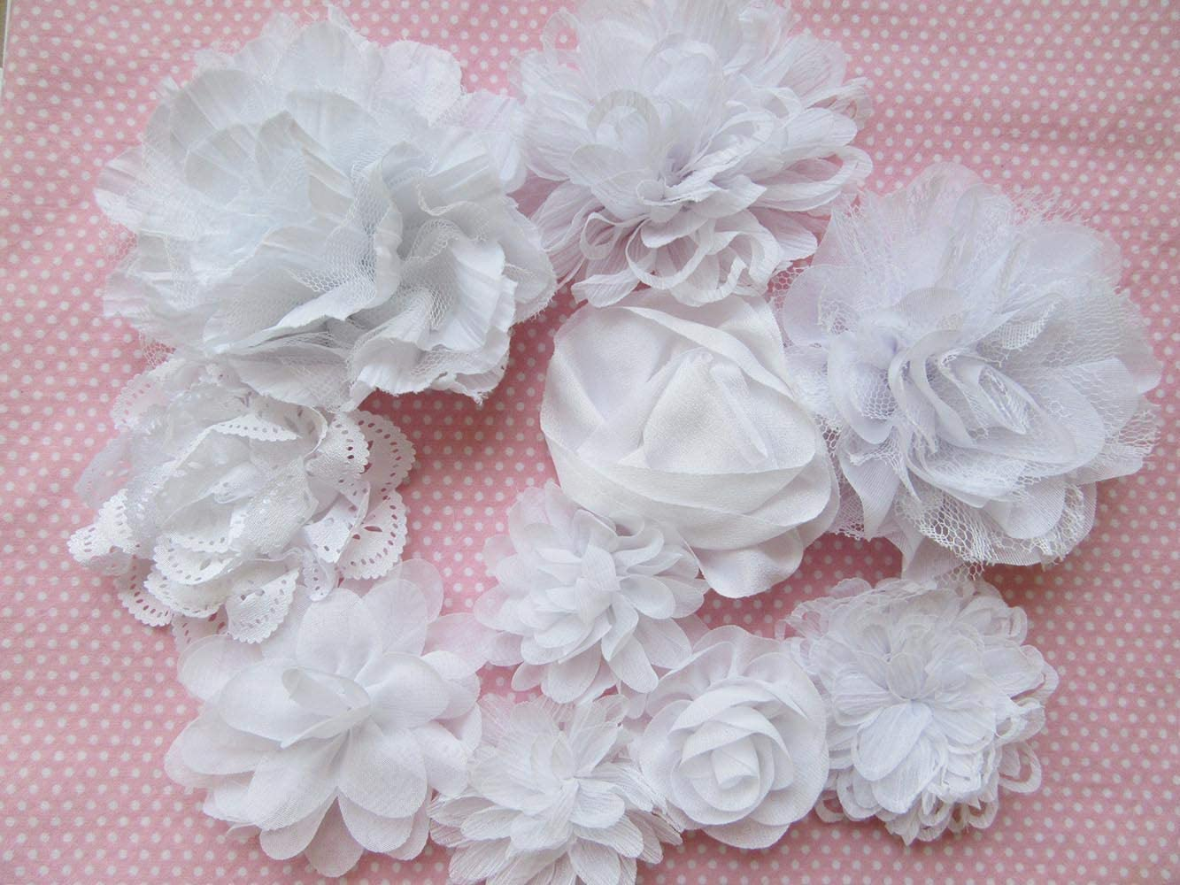Blue,2 YYCRAFT 20 Pcs Chiffon Flower Rhinestone Pearl for Dress Sewing,DIY Hair Bows Craft and Party Decoration
