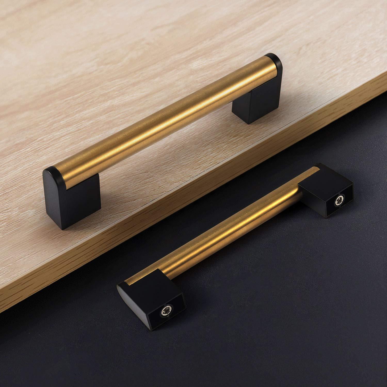 Fulgente 5pcs Negro Manija para Muebles Tiradores para Gabinete de La Cocina o Puerta o Armario o C/ómoda o Mesita o Puerta y Caj/ónIdeales-128mm