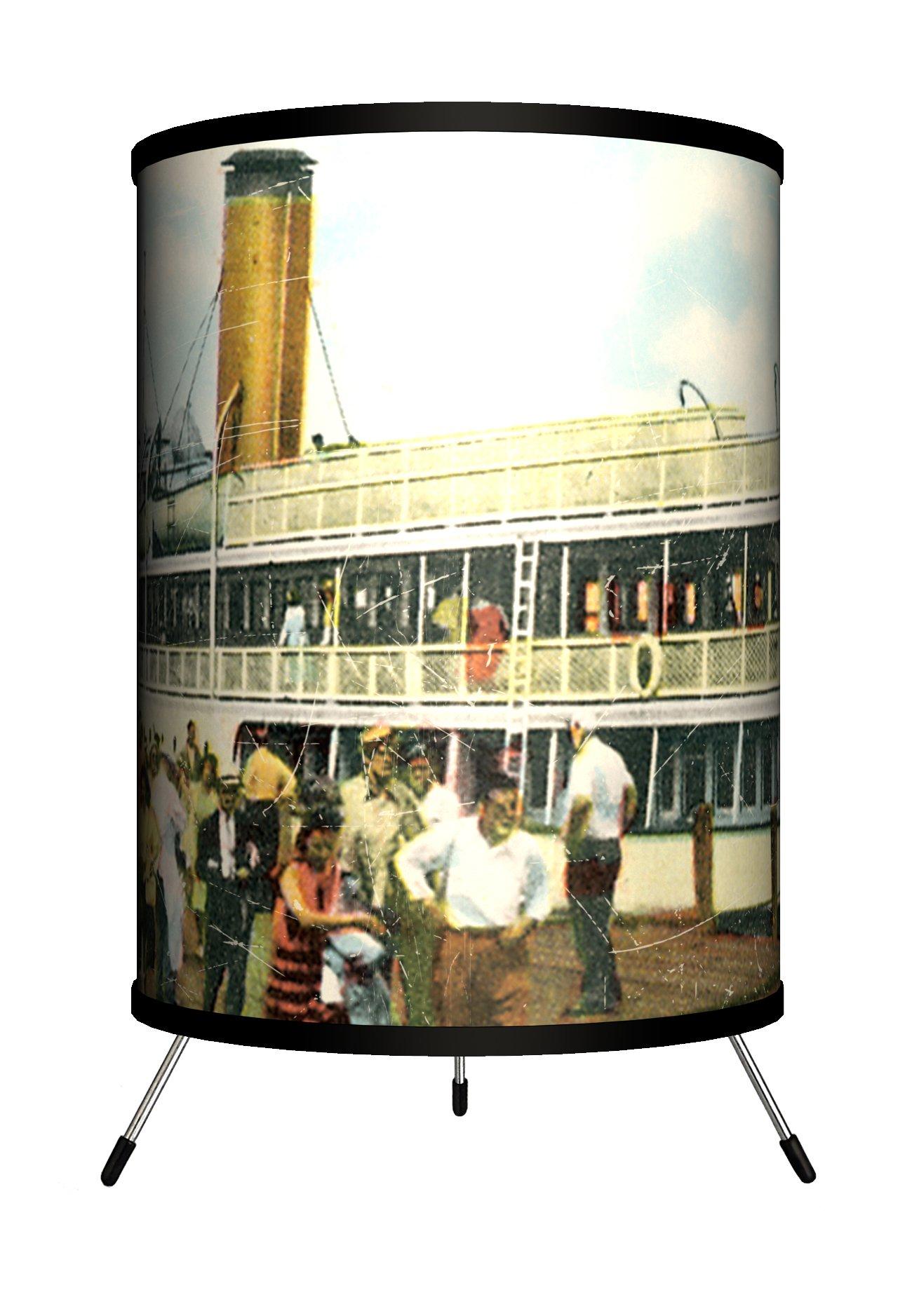 Lamp-In-A-Box TRI-TRV-NEWBI Travel New Harbor, Block Island Postcard Tripod Lamp, 8'' x 8'' x 14''