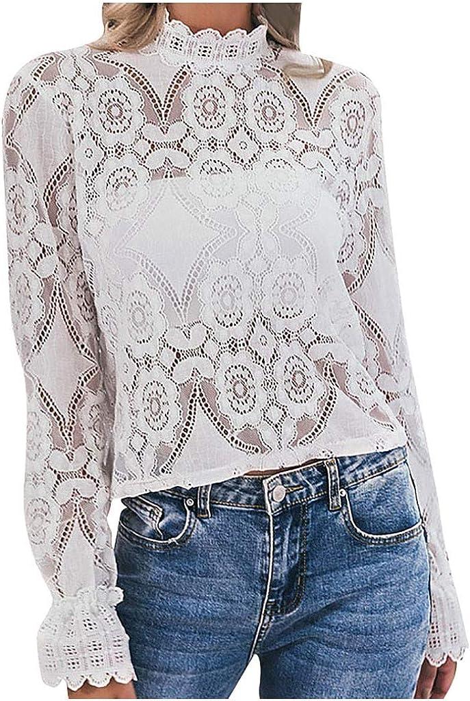 beautyjourney Blusa Elegante Ahuecada para Mujer Camiseta de Encaje con Cuello Alto y Manga Larga Túnica Top Camisa Básica Slim Fit Camisa Casual: Amazon.es: Ropa y accesorios