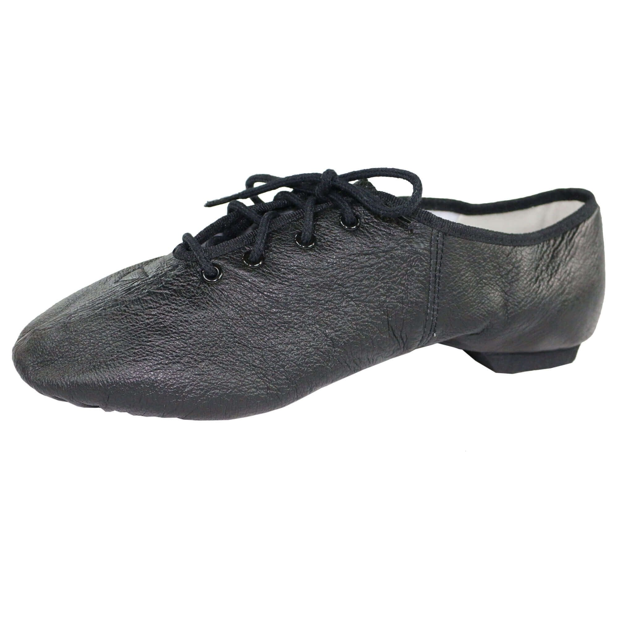 Danzcue Womens Black Leather Lace up Jazz Shoes, 8 M US by Danzcue (Image #3)