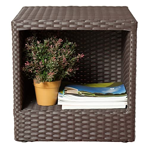 Abba Patio Outdoor Wicker Patio Square End Table Side Table with Storage, 16 W x 16 D x 16.1 H