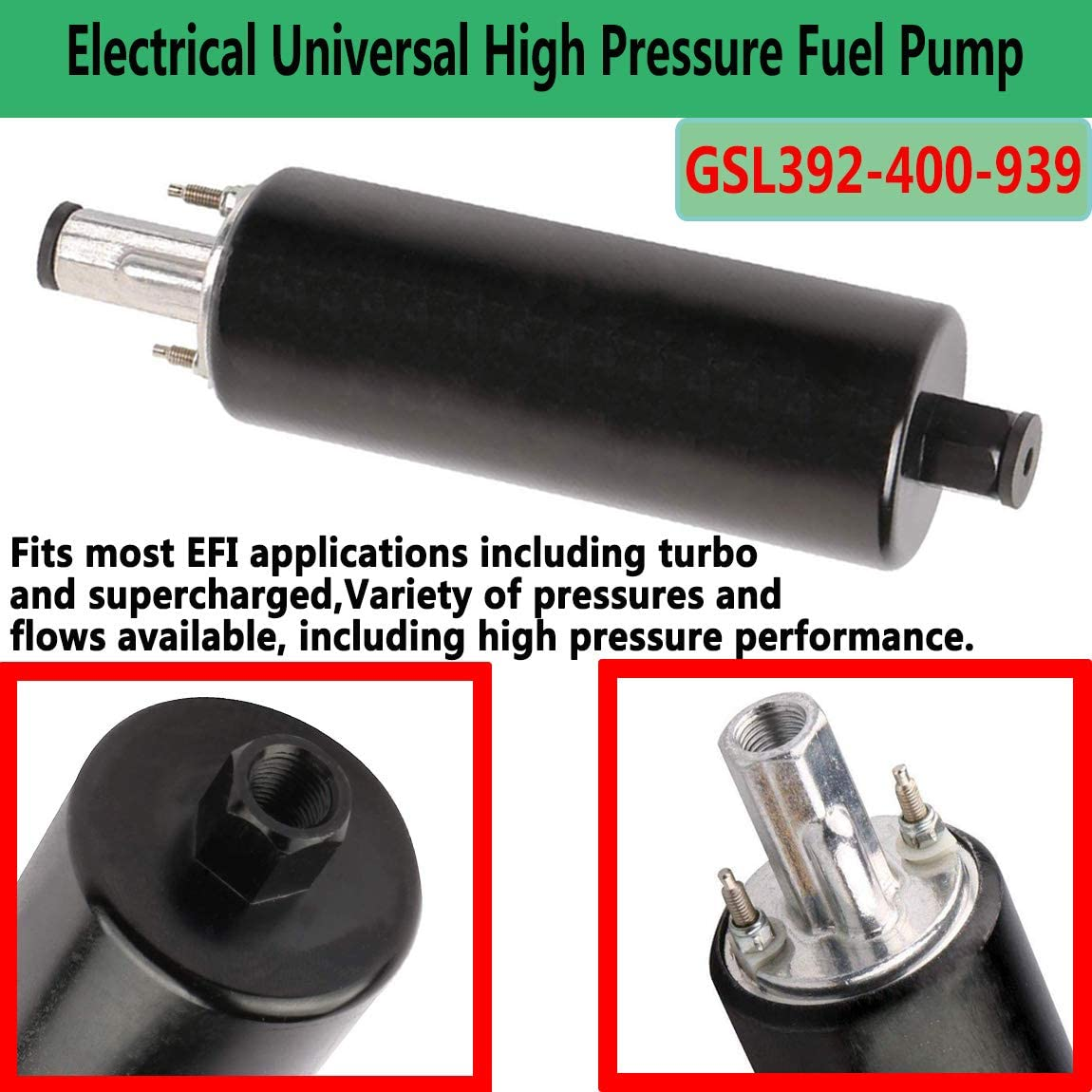 New GSL392-400-939 Electrical Universal High Pressure Fuel Pump with Installation Kit,Replacement for Walbro GSL392 255LPH Inline External Fuel Pump