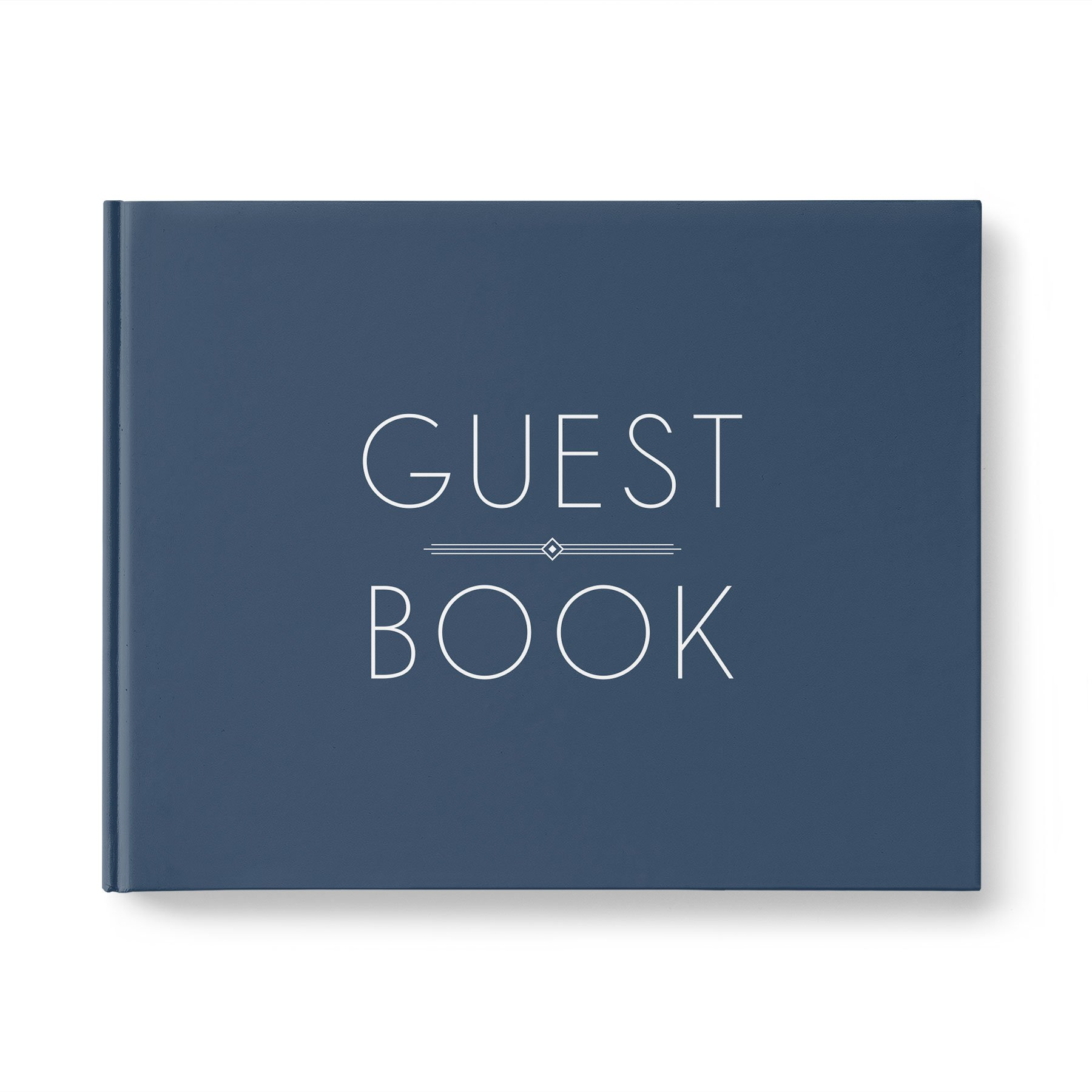 Please + Thanks Guest Book, Navy Blue Casebound Hardcover, 40 Acid-Free Blank White Interior Sheets (80 Total Pages), 10.9 x 8.75 Inches