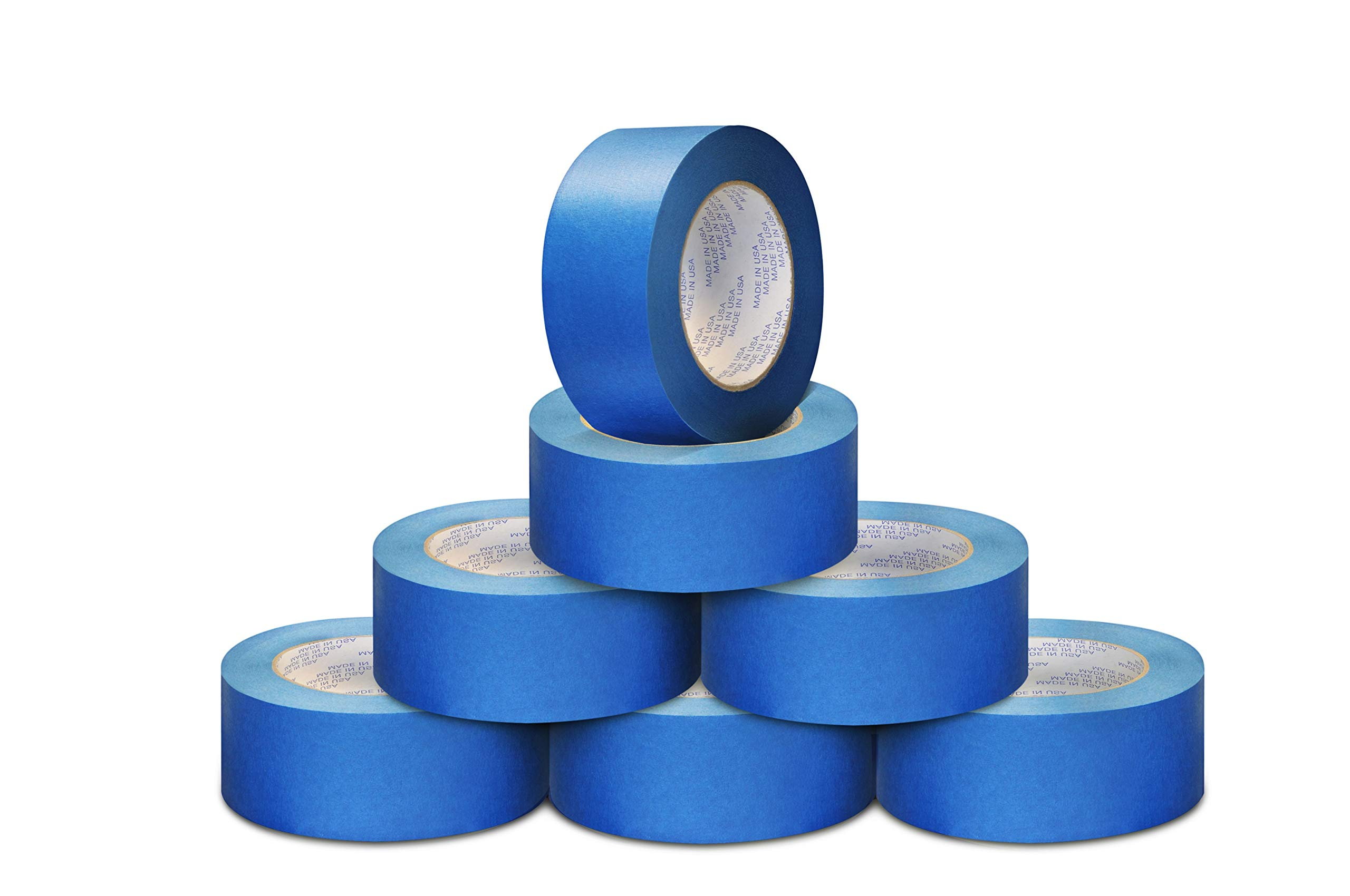 2'' x 60 Yards 5.6 Mil Made in USA Multi-Surface Blue Painters Masking Tape Shrinked Wrap Small Pack 12 Rolls