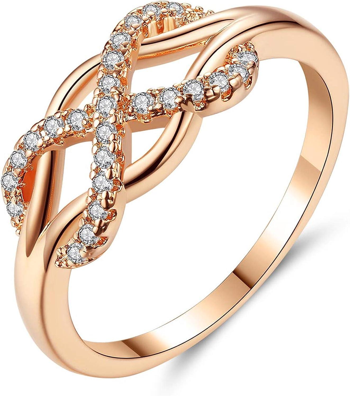 Brilliant-store fashion rings Beiver Anillo Infinito de Cristal de circonita cúbica para Mujer, diseño de Moda, declaración de Color Oro Rosa, joyería de Boda, 7: Amazon.es: Joyería