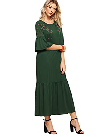 12060e856a410 Image Unavailable. Image not available for. Color: Milumia Women's Floral  Print Fluted Sleeve Tiered Ruffle Hem Long Dress Green XS