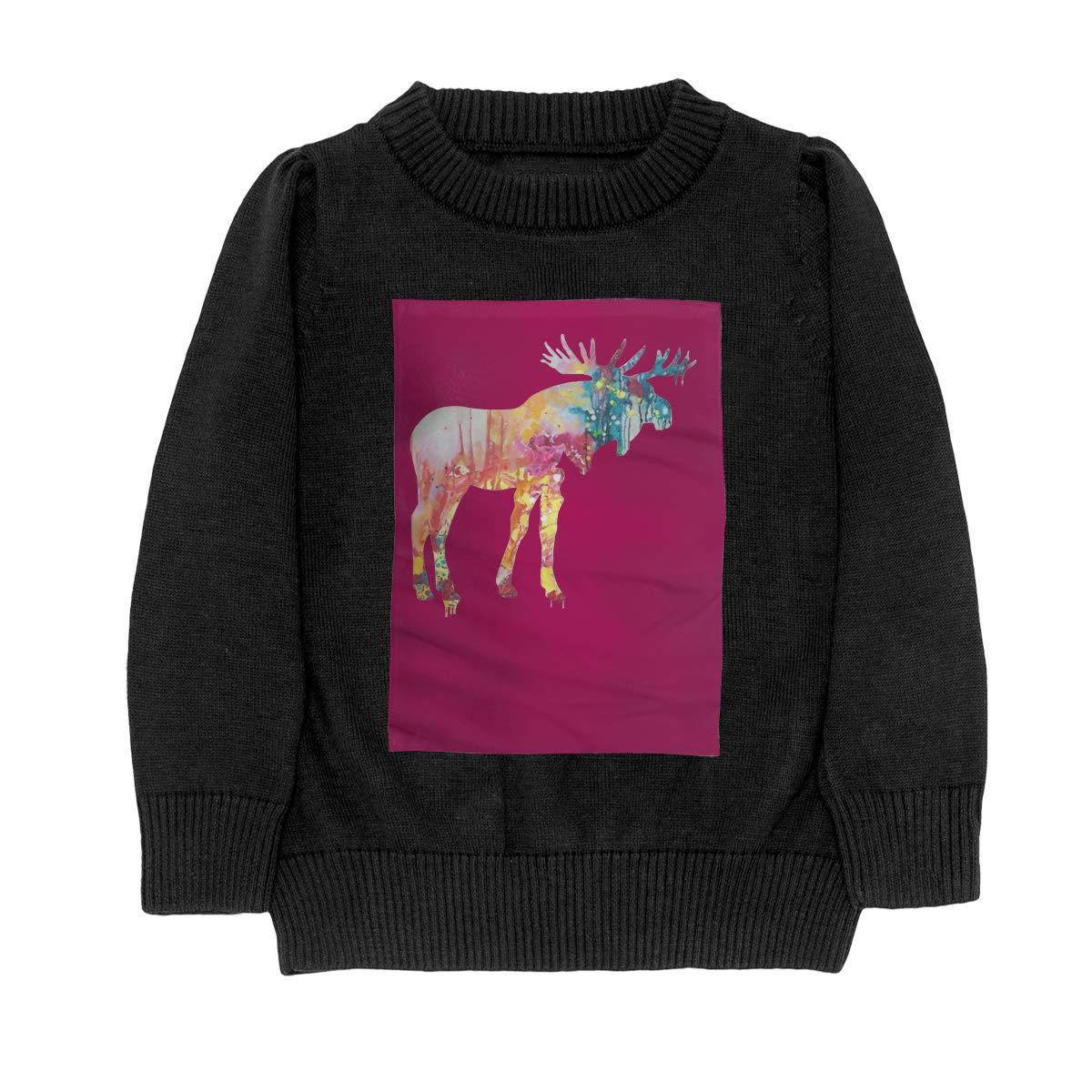WWTBBJ-B Splatter Moose Style Adolescent Boys Girls Unisex Sweater Keep Warm