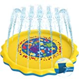 """Sprinkler Pad for Kids Toddlers ,0.44mm Thicker 68"""" Splash Pad Play Mat Summer Outdoor Water Toys Swimming Pool, Large…"""