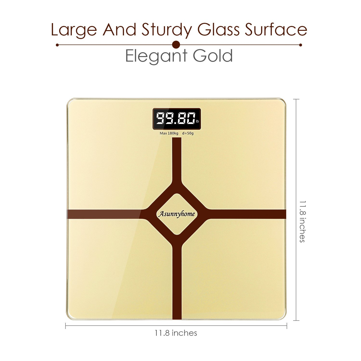 Digital Bathroom Scale with Step-On Function - Batteries Included, 400 pounds- Elegant Gold
